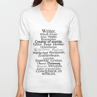 writer V-neck T-shirts featuring Writer by Rebekah Joan