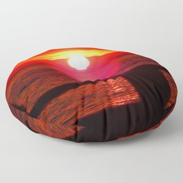 Sun Melts into the Sea Floor Pillow