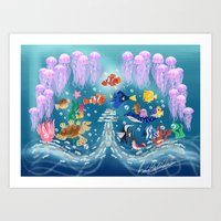 finding nemo Art Prints featuring Sea Wallpainting by princessbeautycase
