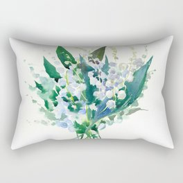 Lilies of the Valley, floral bouquet art,design spring flowers turquoise green white sky blue floral Rectangular Pillow
