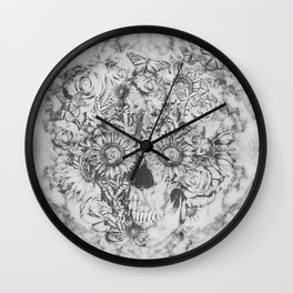 Bookmatched Marble Skull Wall Clock