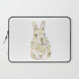 Bunny Rabbit with Daisy Wreath Watercolor Laptop Sleeve