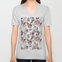 Modern hand painted ivory purple pink watercolor roses Unisex V-Neck