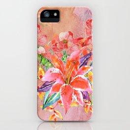 Hawaiian Lily Garden in Watercolor iPhone Case