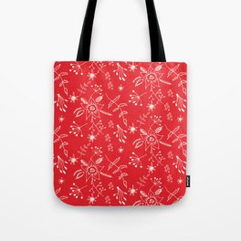 Winter Floral Red Tote Bag