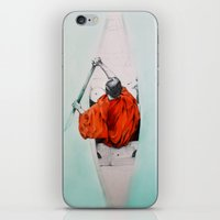 rowing iPhone & iPod Skins featuring Rowing through own antipodes by Sandra Izquierdo