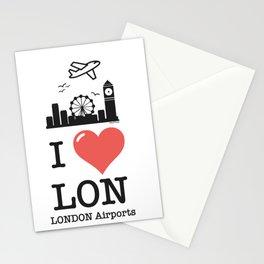 I love/like LON airports Stationery Cards
