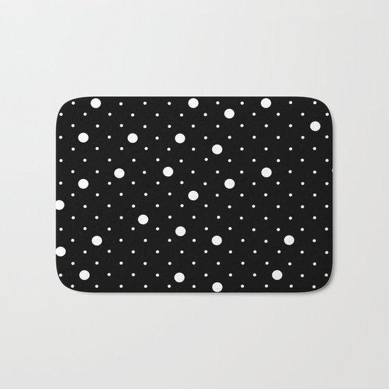 Pin Point Polka Dots White on Black Bath Mat