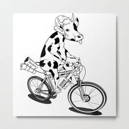 Cow Bikepacking Metal Print