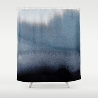 georgiana paraschiv Shower Curtains featuring In Blue by Georgiana Paraschiv