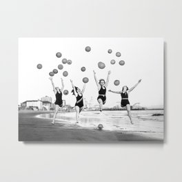Women Dancing on Beach, Black and White, Vintage Wall Art Metal Print