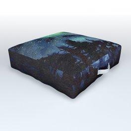 Galaxy Nebula Watercolor Northern Lights Aurora Borealis Outdoor Floor Cushion