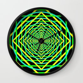 Diamonds in the Rounds Blacklight Neons Yellow Greens Wall Clock