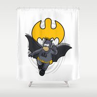 simpsons Shower Curtains featuring bat-homer in action: the Simpsons superheroes by logoloco