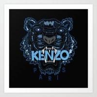kenzo Art Prints featuring Kenzo Tiger Dark Blue by cvrcak