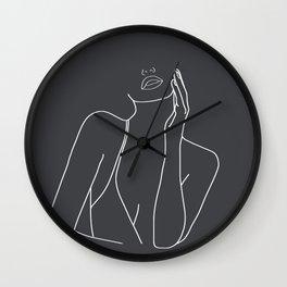 Minimal Line Art of a Woman Wall Clock