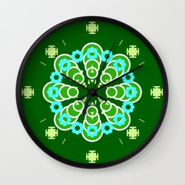 Eight point Mandala, Dark Jade Green and Aqua Wall Clock