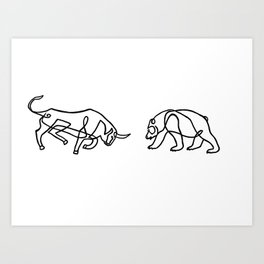 Bull vs Bear Art Print