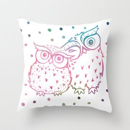 Owls - pink and blue Throw Pillow