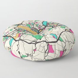 Colorful City Maps: Florence, Italy Floor Pillow