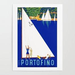 1941 PORTOFINO Italy Travel Poster Poster