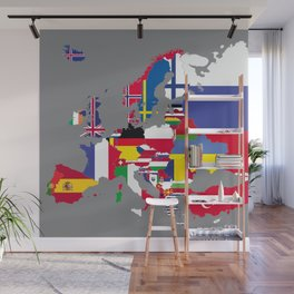 Europe flags grey Wall Mural