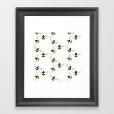 Fuzzy Bumblebees Framed Art Print