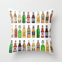 beer Throw Pillows featuring BEER by BearandBugle