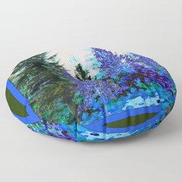 BLUE-GREEN MOUNTAIN FOREST LANDSCAPE Floor Pillow