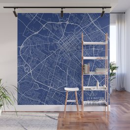 Lexington Map, USA - Blue Wall Mural