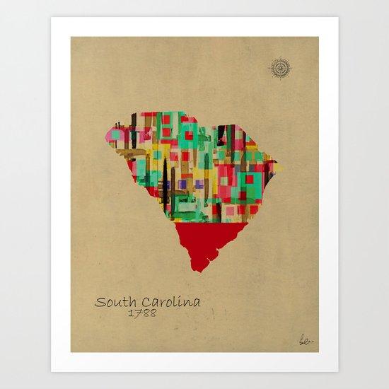 South Carolina state map Art Print