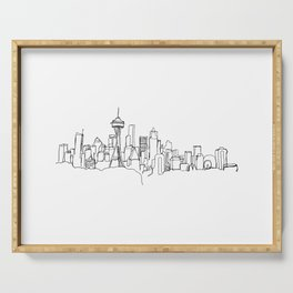 Seattle Skyline Drawing Serving Tray