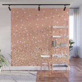 Floating Confetti - Peach and Gold Wall Mural