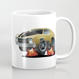 Classic American Seventies Muscle Car Cartoon, Gold with Black Stripes, Popping a Wheelie Coffee Mug