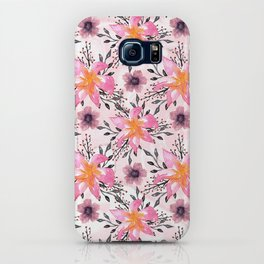 Festive Pink Flowers Watercolor Marbles iPhone Case