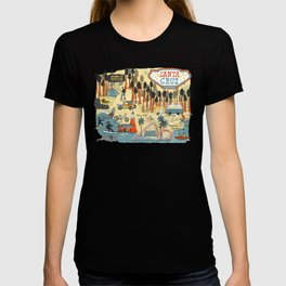 Santa Cruz California Illustrated Map T-shirt