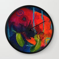 manatee Wall Clocks featuring Young Manatee by Silke Powers