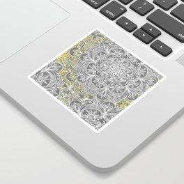 Yellow & White Mandalas on Grey Sticker