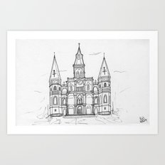 St. Louis Cathedral | New Orleans | Illustration  Art Print