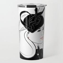 Meghan Markle Inspired Fascinator Portrait Travel Mug
