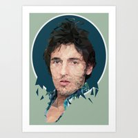 springsteen Art Prints featuring Low Poly Bruce Springsteen by Yasmin Katlich