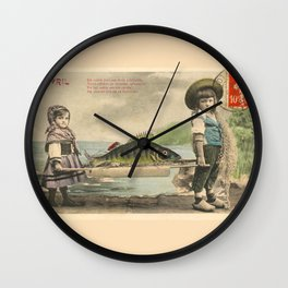 The April Fish - Vintage / Antique French Post Card - Piosson D'Avril - April Fools Day Wall Clock