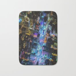 Aerial Times Square - New York City Landscape Painting by Jeanpaul Ferro Bath Mat