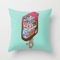 icecream Throw Pillows featuring Icecream pop by makapa