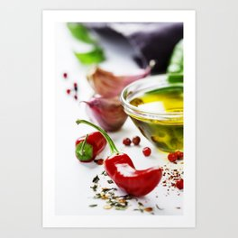 Red Chili Peppers with herbs and spices Art Print