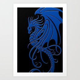 Flying Blue and Black Tribal Dragon Art Print