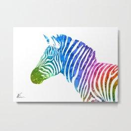 Zebra   Rainbow Series   Pop Art Metal Print