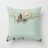 yetiland Throw Pillows featuring Steam FLY by Diego Verhagen