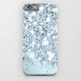 Sparkly Silver & Alice Blue Glitter Ombre iPhone Case
