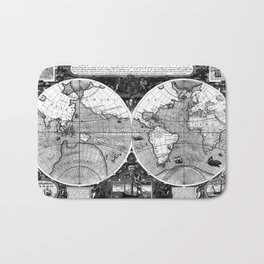 Black and White World Map (1595) Bath Mat